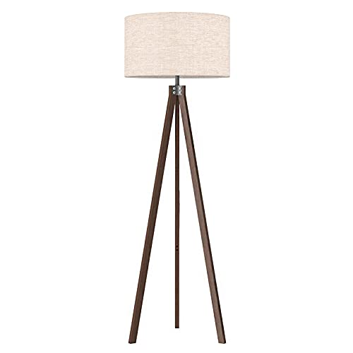 LEPOWER Wood Floor Lamp Tripod, Mid Century Lamps for Living Room, Modern Design Standing Lamp for Bedroom and Office, Flaxen Lamp Shade with E26 Lamp Base