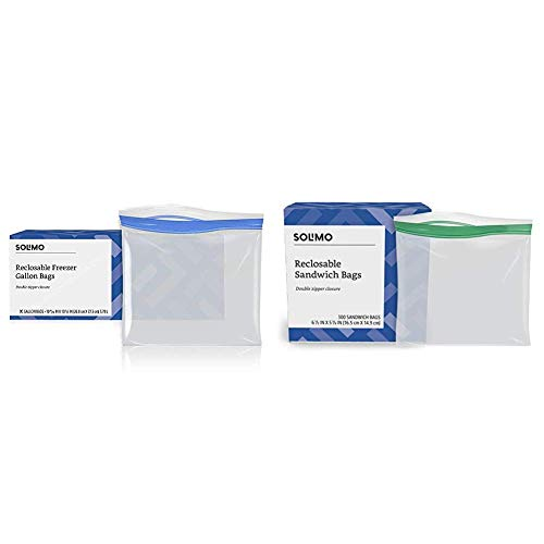 Amazon Brand - Solimo Freezer Gallon Bags, 90 Count & Sandwich Storage Bags, 300 Count