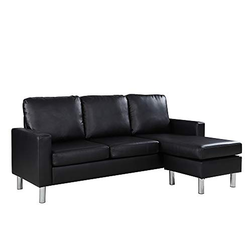 Reversible Sectional Sofa, Convertible L-Shape Couch in Bonded Leather Upholstery for Small Space (Black)