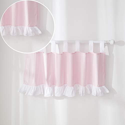 Brandream Baby Girls Pink Princess Window Curtain Valance Panels Newborn Infant Toddler Nursery Room Treatment with White Ruffle 100% Cotton, 1 Pack