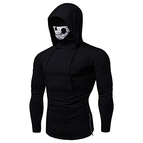 Men's Fashion Skull Mask Pattern Long Sleeve Hooded Sweatshirt Training Pullover Sweatshirt (Black, L)