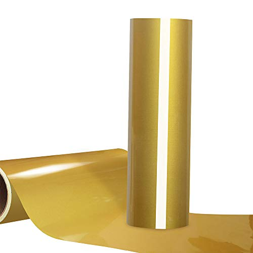 Gold Heat Transfer Vinyl HTV Roll 12'X12ft Iron on Vinyl for Tshirt Compatible with All Cutting Machines