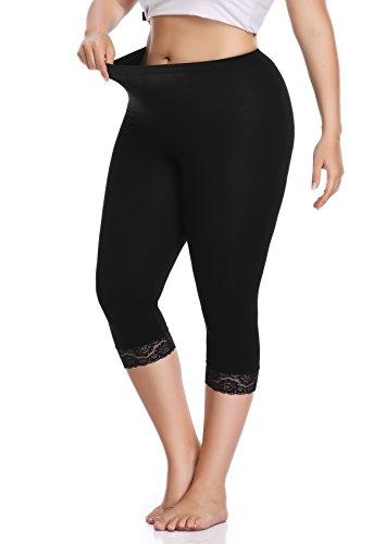 Women's Plus Size Capri Cropped Leggings Stretch Lace Trim Soft Tights Pants, Black, XXXL