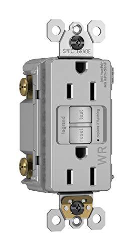 Legrand radiant Self-Test GFCI Weather Resistant Outlets, 15 Amp, Tamper Resistant, Outdoor Outlets, Gray, 1597TRWRGRYCCD4
