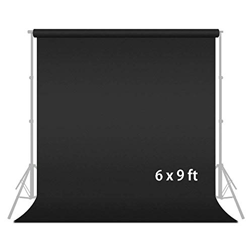 Julius Studio 6 ft. x 9 ft. Black Soft Fabricated Backdrop Muslin, Background Screen for Photo & Video Shooting, Streaming, Special Occasion Chromakey, Premium Photography Studio, JSAG102