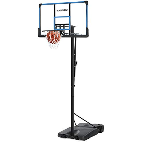 MaxKare 48'' Portable Basketball Hoop & Goal Basketball System with Height Adjustable 7ft 6in-10ft, 48'' Polycarbonate Backboard & Porting Wheels for Adults & Teens Indoor Outdoor