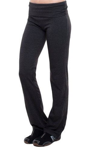 T-Party Fold-Over Waist Yoga Pants,Small,Charcoal