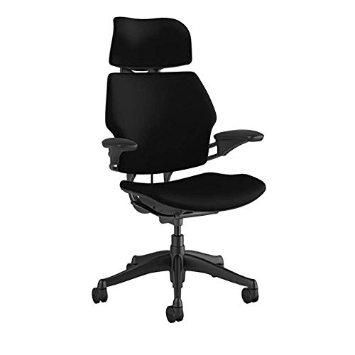 Humanscale Freedom Task Chair with Headrest | Graphite Frame, Corde 4 Black Fabric Seat | Height-Adjustable Duron Arms | Standard Foam Seat, Hard Casters, and 5' Cylinder