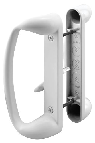 """Prime-Line C 1176 Sliding Glass Door Handle Set – Replace Old or Damaged Door Handles Quickly and Easily – Painted White Diecast, Mortise/Hook Style (Fits 3-15/16"""" Hole Spacing)"""