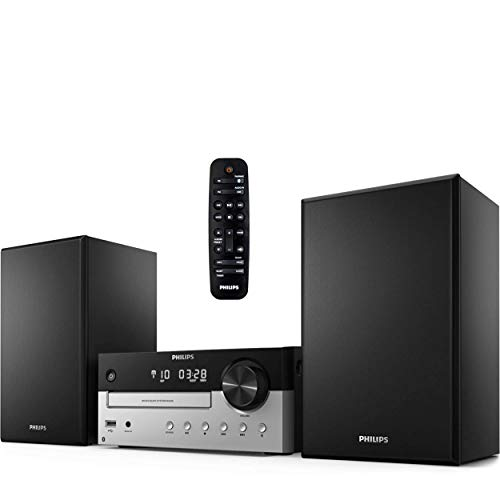 PHILIPS Bluetooth Stereo System for Home with CD Player, MP3, USB, Audio in, FM Radio, Bass Reflex Speaker, 60W, Remote Control Included