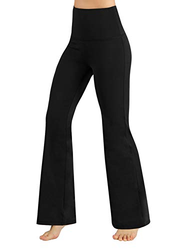 ODODOS Women's High Waist Boot-Cut Yoga Pants Tummy Control Workout Non See-Through Bootleg Yoga Pants,Black,X-Small