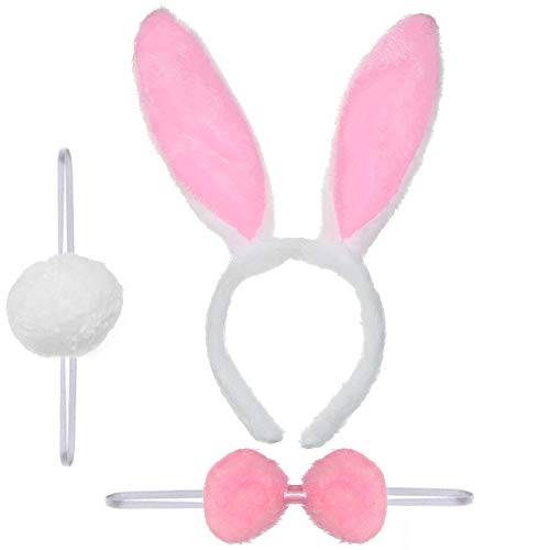 Skeleteen Bunny Rabbit Costume Set - White and Pink Ears, Bow Tie and Tail Accessories Kit for Kids of All Ages
