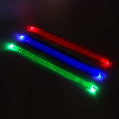 YiPaiSi 5A Acrylic Drum Stick, Bright LED Light Up Drumsticks, Glow in The Dark, Set your gig on fire (Green)