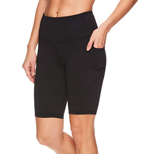Reebok Women's Compression Running Shorts with Side Phone Pocket - High Waisted Performance Workout Bike Short - 9.5 Inch Inseam - Train High Rise Black Night, Small