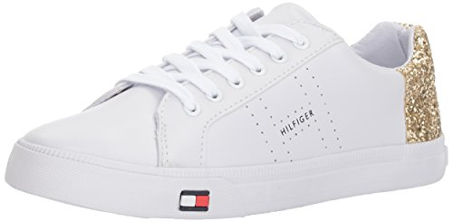 Tommy Hilfiger Women's Lune Sneaker, White/Gold, 10