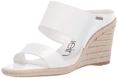 Calvin Klein Women's Brooke Wedge Sandal, White Varnished Crackle Leather, 8 M US