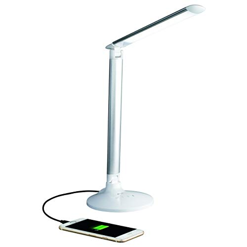 OttLite Command LED Desk Lamp with Voice Assist - White, Google Home and Amazon Alexa Compatible, USB Charging Port