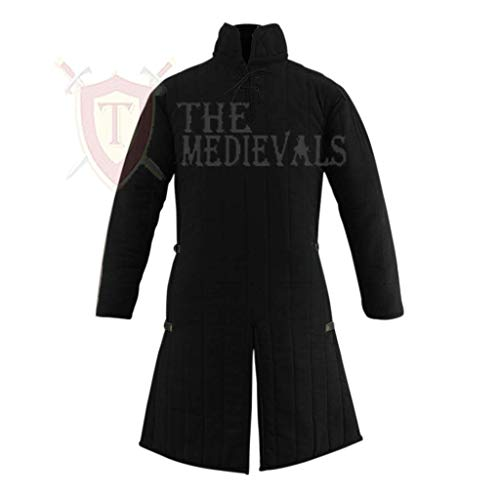 Medieval Thick Padded Full Sleeves Gambeson Coat Aketon Jacket Armor, Black Cotton Fabric - Large