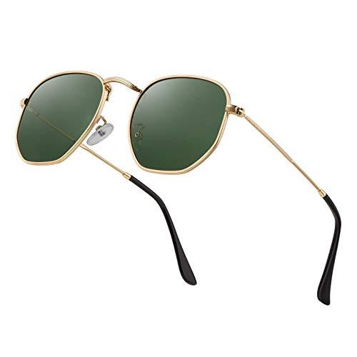 Modern Geometric Polarized Metal Slim Arms Neutral Colored Lens Hexagonal Sunglasses Men Women Square Small Vintage Frame Retro Round Mirrored Driving Shade Sun Glasses(DarkGreen Lens/Gold Frame)