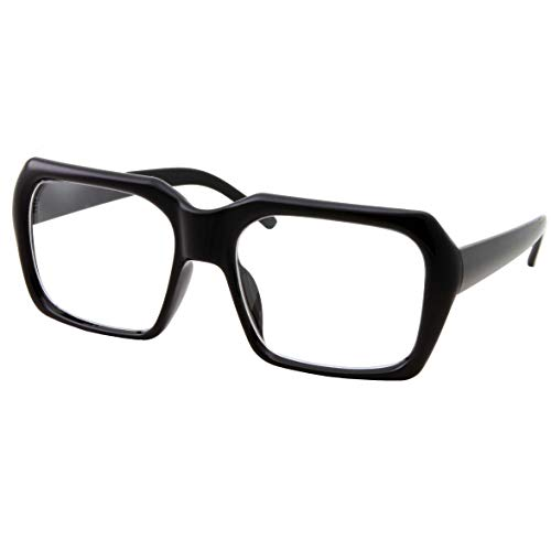 XL Oversized Black Nerd Clear Glasses - Men and Women - Square Costume (Black)