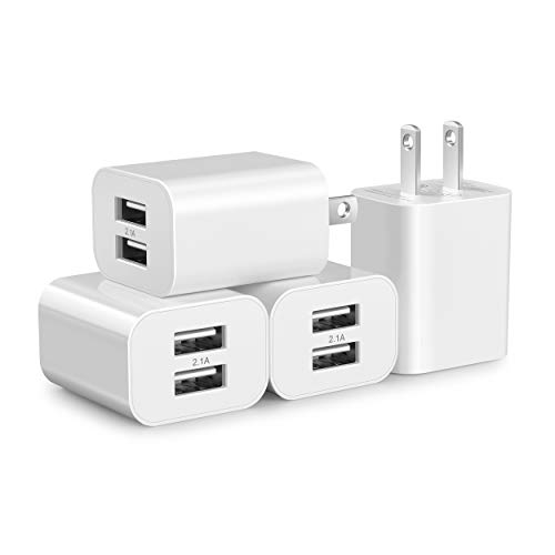 USB Wall Charger Block 4Pack Dual Port Cube Plug Power Charging Adapter 5V 2.1A Brick for Apple iPhone 11/XS Max/XR/X/8/7/6S/6S Plus/6/SE/5S/5C/iPad Mini/Air 2/Andriod Samsung Galaxy Kindle Fire LG