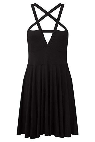 Fashion Dress Gothic Vintage Romantic Casual Dress for Women (L, style1) (L, Black)