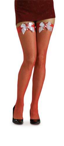 Rubie's Fishnet Thigh High Stockings with Candy Canes and Bows, Red, One Size