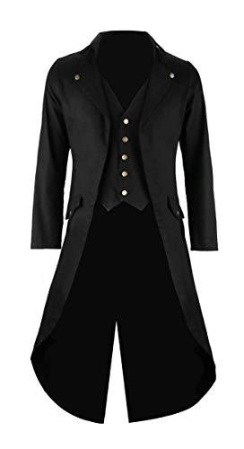 Mens Black Vintage Tailcoat Jacket Fancy Cool Cosplay Costume Robe Black X-Large