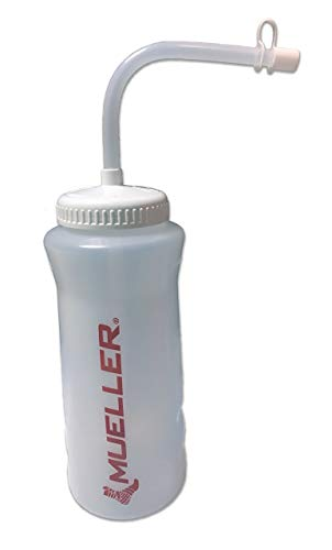 Mueller 32oz Red Logo Clear Squeeze Bottle with Red Logo, Straw and Cap