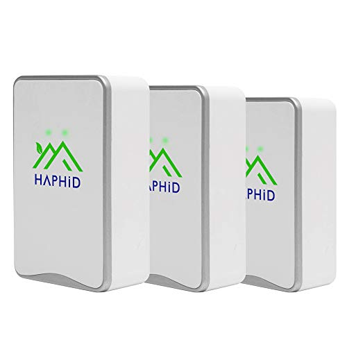 HAPHID Negative Ion Generator/Plug In Air Purifier with Highest Output - Up to 32 Million Negative Ions/Sec, Filterless Mobile Ionizer & Portable Purifier Clean:Allergens,Pollutants,Odors (3 Pack,Silver )
