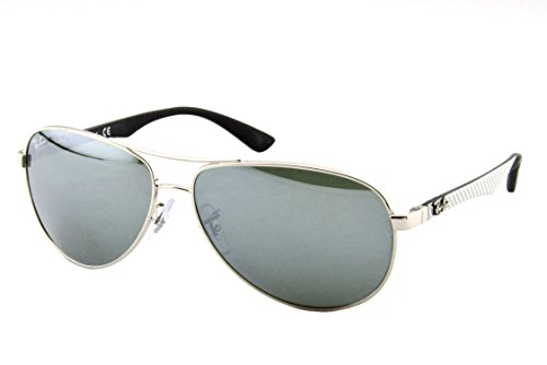 Ray-Ban Men's RB8313 Carbon Fiber Double Brow Bar Pilot Sunglasses, Silver/Grey Mirror, 61 mm