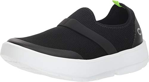 OOFOS Women's OOmg Shoe - Post Exercise Active Recovery Footwear Plantar Fasciatis & Impact Absorbing Orthopedic Foot & Heel Pain Relief Sneaker - White/Black - W12