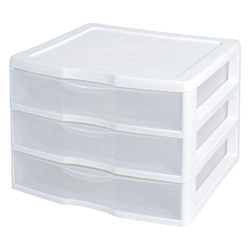 Sterilite 3-Drawer Organizer - ClearView Wide 2093 (White / Clear) (10.25'H x 14.5'W x 14.25'D)