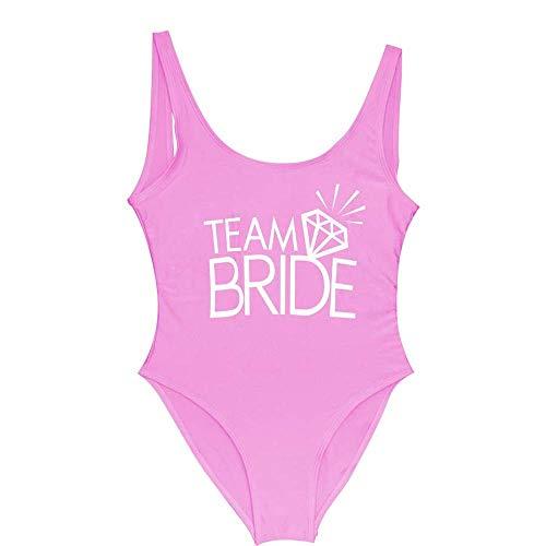 One Piece Swimsuit for Women Pink Bathing Suit Team Bride Swimsuit Sexy Wedding Bachelor Party Diamond Pattern Women's Swimwear(Team Bride Pink,M)