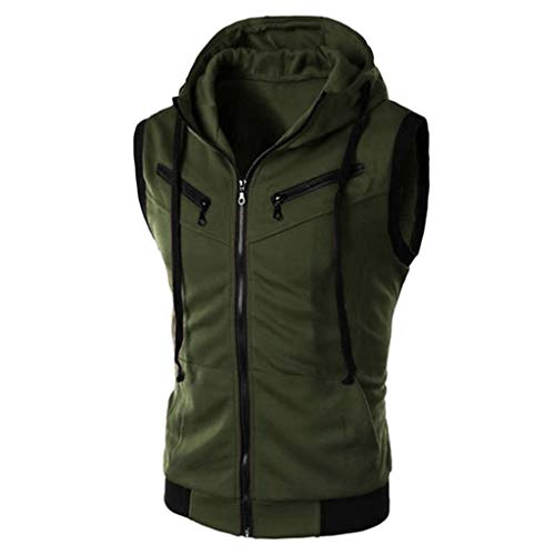 Fashion Men's Summer Casual Hooded Pure Color T-Shirt Sleeveless Hoodie Tops Green