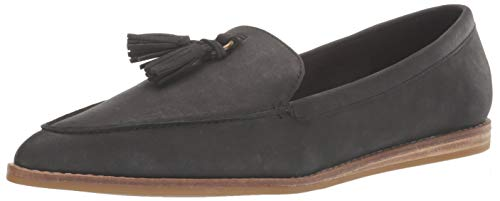 Sperry womens Saybrook Slip on Leather Loafer Flat, Black, 8.5 US