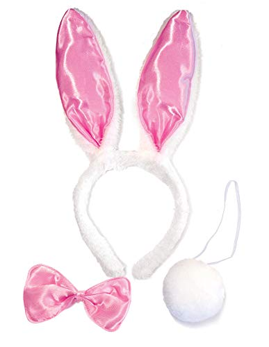 Bunny Rabbit Costume Kit for Kids Adult - Bunny Ears Headband for Halloween Dress Up, Cosplay Accessories Set (Light Pink Satin & White)