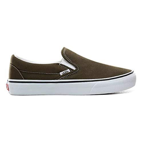Vans Unisex Classic Slip-On Skate Shoe Beech/True White (7 Women / 5.5 Men M US)