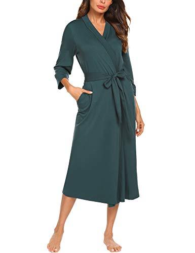 MAXMODA Women Maternity Long Robe Soft Kimono Warm Cotton Blend Bathrobe Lounge Robe(Dark Green,XL)