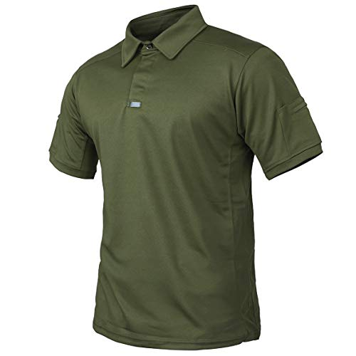 CARWORNIC Men's Tactical Shirt Quick Dry Short Sleeve Sport Polo Shirt Army Military Outdoor T- Shirt