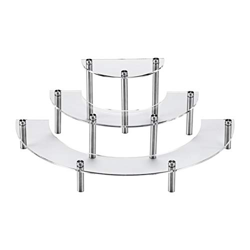 X L MAGNET 3 Tier Clear Acrylic Half Moon Dessert Cupcake Display Stands for Funko Pop Collection Figures, Tabletop Retail Semicircle Display Riser Shelf for Wedding Home Birthday Party