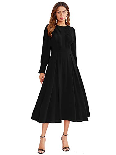 Milumia Women's Elegant Frilled Long Sleeve Pleated Fit and Flare Dress Black Small