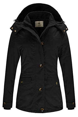 WenVen Women's Windbreaker Parka Jacket with Removable Hood (Black, Medium)