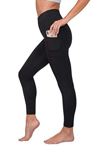 90 Degree By Reflex High Waist Tummy Control Interlink Squat Proof Ankle Length Leggings - Black - Small