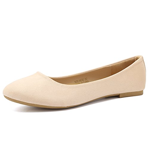 CIOR Women Ballet Flats Classy Simple Casual Slip-on Comfort Walking Shoes VPDA1-NudeMicro-234