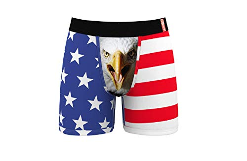Shinesty American Flag Boxer Briefs - Men's Screaming Eagle Pouch Underwear - Micro Modal Construction, 4-Way Stretch, Gusseted Crotch