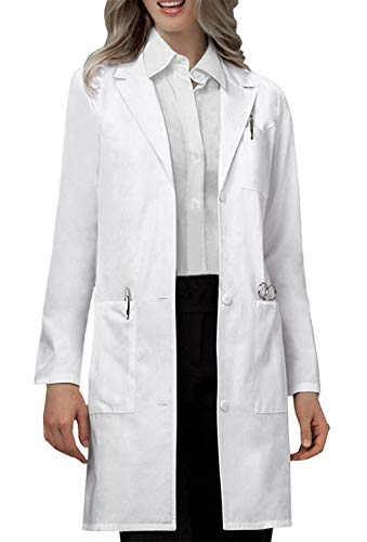 VOGRYE Professional Lab Coat for Women Long Sleeve, White, Unisex L