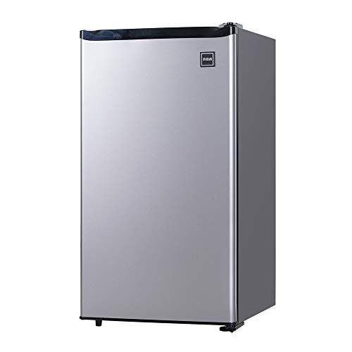 RCA RFR322-B 3.2 Cu Ft Single Door Mini Fridge with Freezer RFR322, Platinum, Stainless