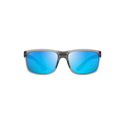 Maui Jim unisex adult Pokowai Arch Sunglasses, Translucent Matte Grey/Blue Hawaii Polarized, Medium US