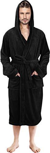 NY Threads Mens Hooded Robe - Plush Long Bathrobes for Men (Black, Large/X-Large)